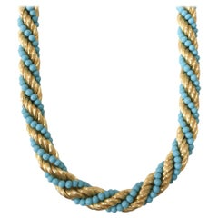 Turquoise Bead 18 Karat Yellow Gold Twist Necklace