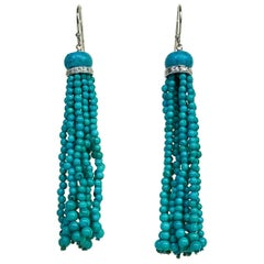 Marina J Turquoise Beads Dangle Tassel Earrings with Diamonds and White Gold