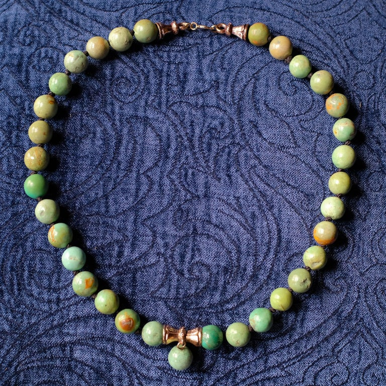 Turquoise Bead Necklace, circa 1900 For Sale 4