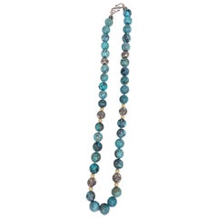 Turquoise Beaded Necklace with 14k Yellow Gold and Sterling Silver Accents