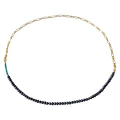 Turquoise Black Pearl Gold Filled Chain Beaded Choker Necklace
