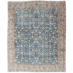 Turquoise Blue Background Antique Persian Khorassan Rug with Light Blue Border