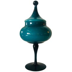 Turquoise Blue Blown Italian Murano Glass Stemmed Candy Dish with Matching Top