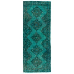 Turquoise Color Re-Dyed Handmade Turkish Runner. 5x12.5 Ft Vintage & Modern Rug