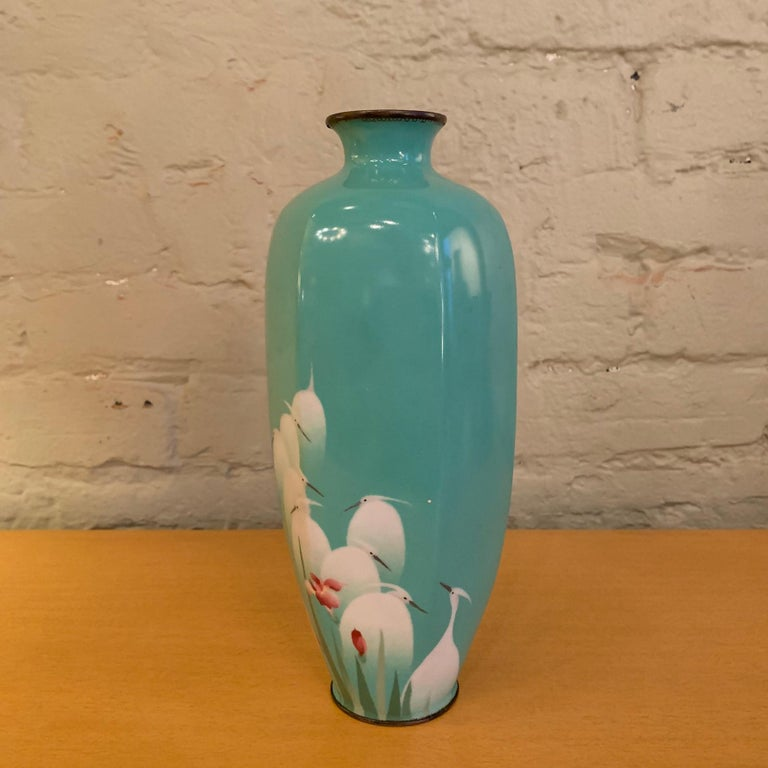 Art Deco Turquoise Blue Enamel over Copper Vase, China For Sale