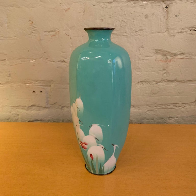 Chinese Turquoise Blue Enamel over Copper Vase, China For Sale