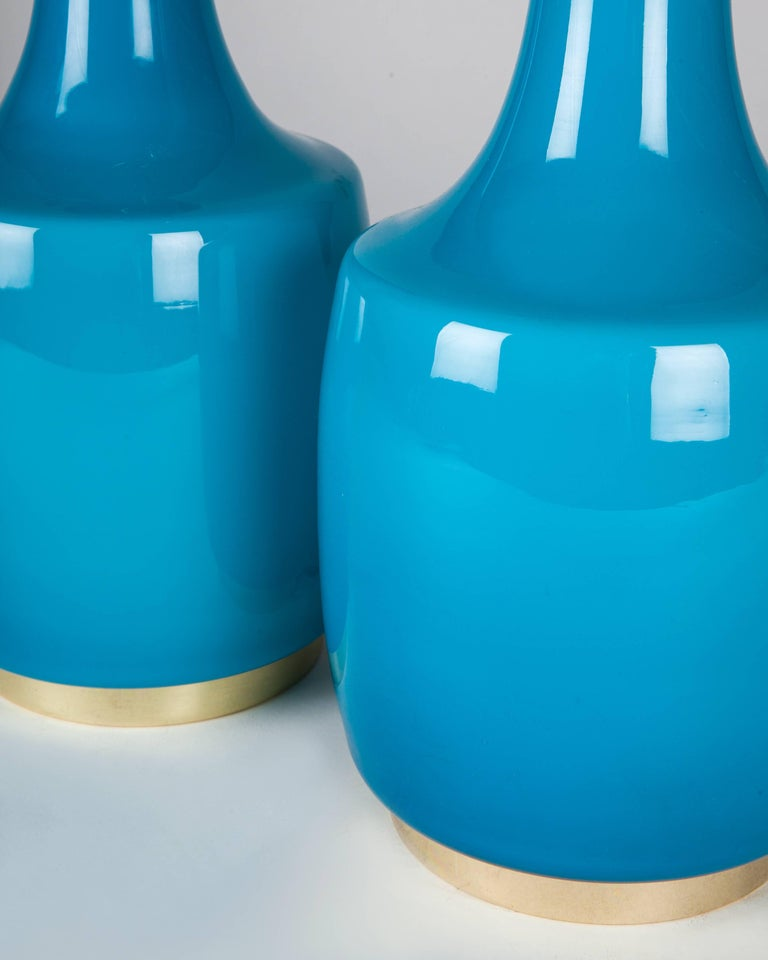 Scandinavian Modern Turquoise Blue Glass Lamps by Bergboms, Swedish, circa 1970 For Sale
