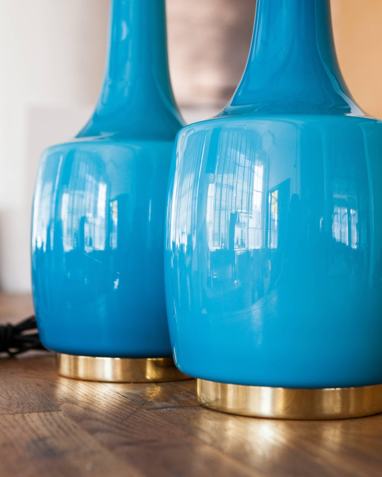 Polished Turquoise Blue Glass Lamps by Bergboms, Swedish, circa 1970 For Sale