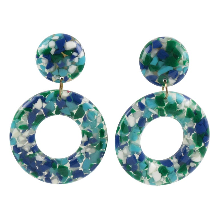Turquoise Blue Lucite Donut Clip Earrings