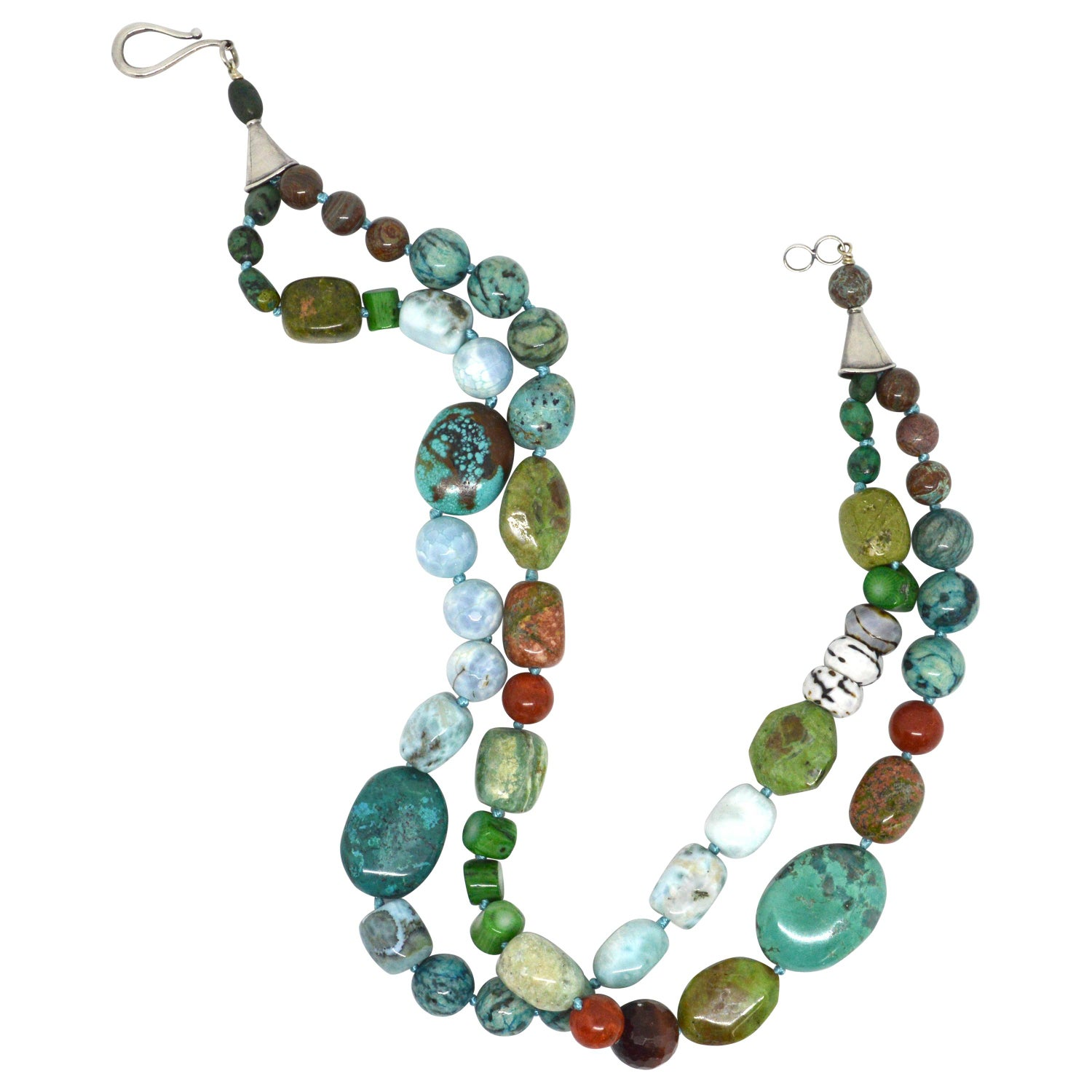 Amazonite Opal Brass /& Leather Necklace