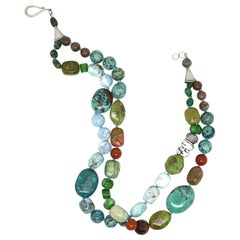 Turquoise Blue Opal Agate Sea Bamboo Unakite Larimar Silver Necklace
