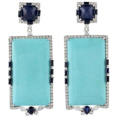 Turquoise Blue Sapphire Diamond 18 Karat Gold Earrings