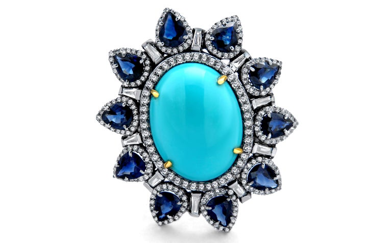 Artisan Turquoise Blue Sapphire Diamond Ring For Sale