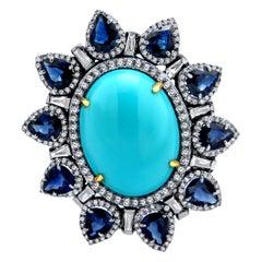 Turquoise Blue Sapphire Diamond Ring