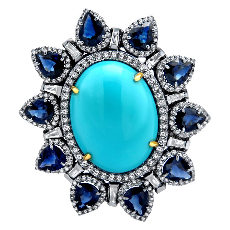 Turquoise Blue Sapphire Diamond Ring For Sale