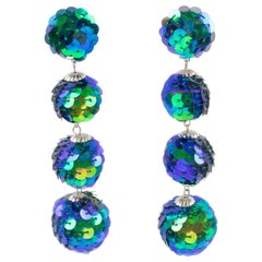 Turquoise Blue Sequin Disco Balls Dangle Clip Earrings
