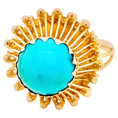 Turquoise Bombe Ring, 1950 14 Karat Gold, Green, Blue Turquoise Statement Ring