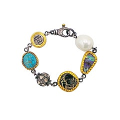 Turquoise, Boulder Opal, Pearl, Ancient Coin and Raw Diamond Bohemian Bracelet