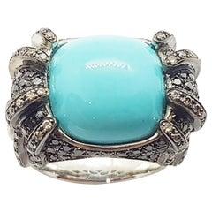 Turquoise, Brown Diamond, Black Diamond and Diamond Ring in 18 Karat White Gold
