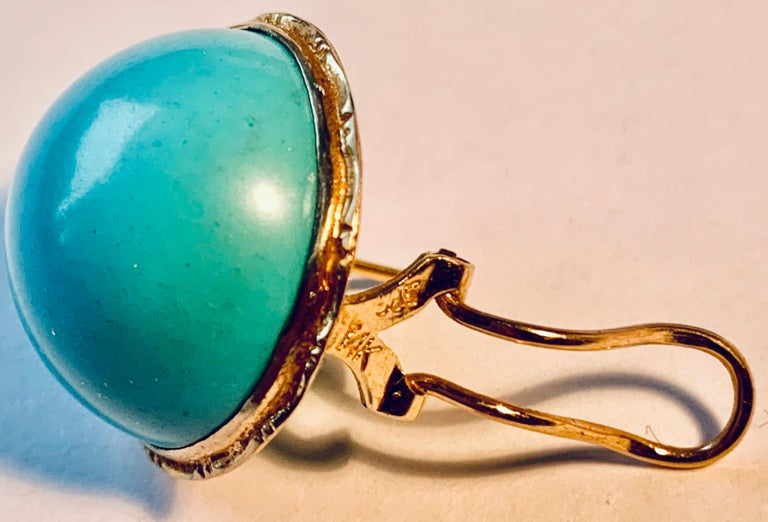 Contemporary  Earrings with Turquoise Cabochon Stones-Engraved 14 Karat Gold Settings For Sale