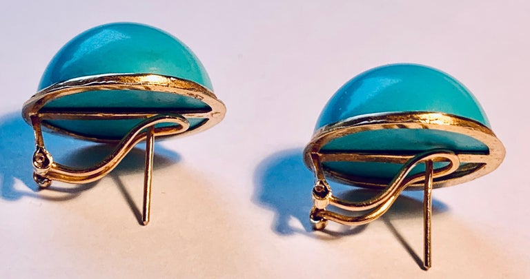 Round Cut  Earrings with Turquoise Cabochon Stones-Engraved 14 Karat Gold Settings For Sale