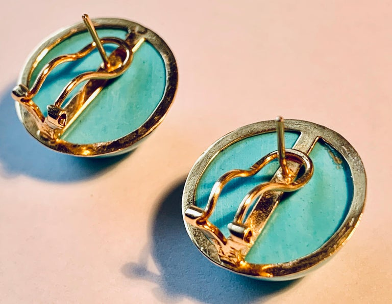 Earrings with Turquoise Cabochon Stones-Engraved 14 Karat Gold Settings In Good Condition For Sale In West Palm Beach, FL