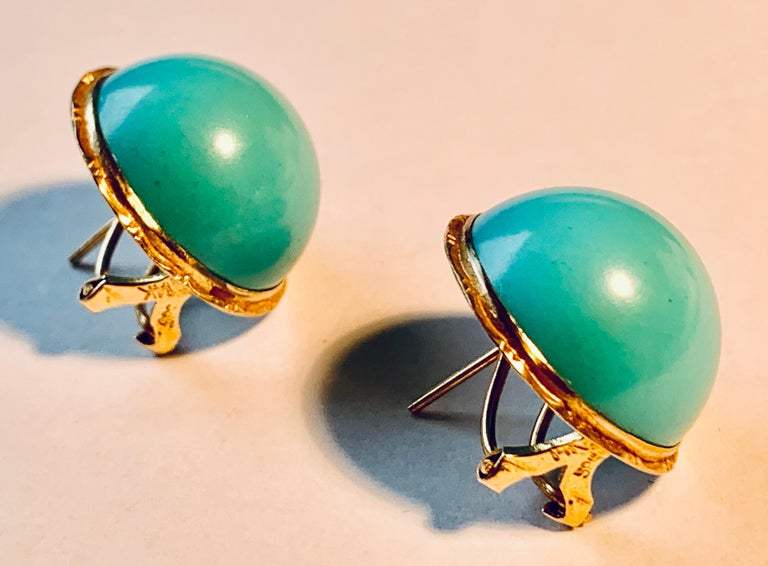 Women's  Earrings with Turquoise Cabochon Stones-Engraved 14 Karat Gold Settings For Sale