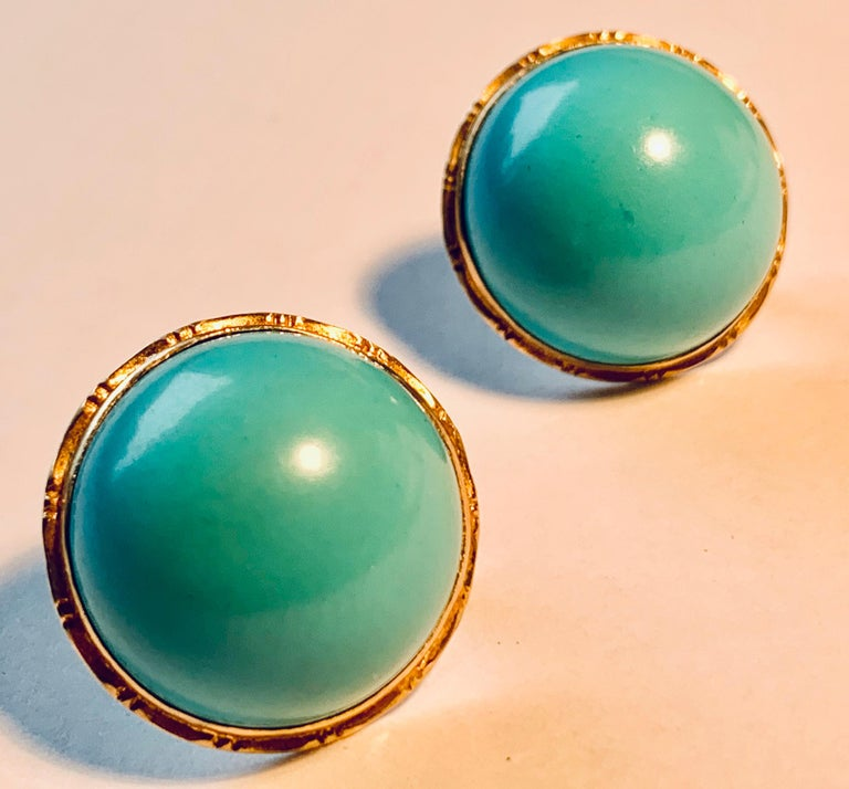Earrings with Turquoise Cabochon Stones-Engraved 14 Karat Gold Settings For Sale 1