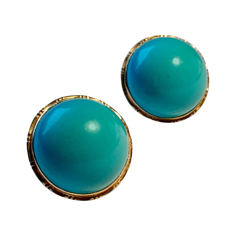 Earrings with Turquoise Cabochon Stones-Engraved 14 Karat Gold Settings For Sale