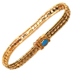 Turquoise Cabochon Italian Gold Link Bracelet