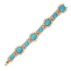 Turquoise Cabochon Princess Bracelet with Crystal Rhinestones