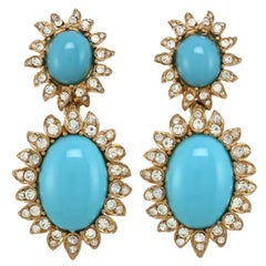 CINER Turquoise Cabochon Princess Earrings with Crystal Rhinestones