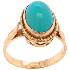 Turquoise Cabochon Shape on Rose Gold 18 Karat Fashion Ring