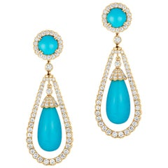 Goshwara Turquoise Cabs & Drops With Diamond Earrings