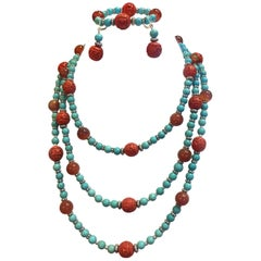 Exolette Turquoise Carnelian Red Carved Cinnabar Necklace Bracelet Earring Suite