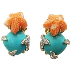 Turquoise, Carved Coral with Diamond Earrings in 18K Gold