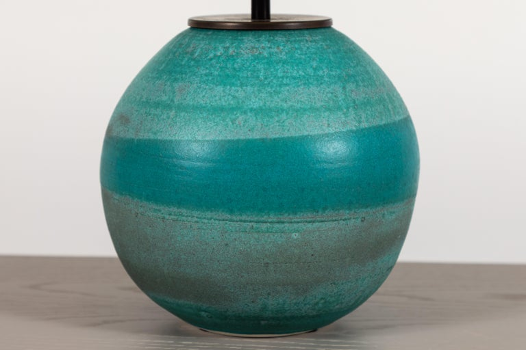 Mid-Century Modern Turquoise Ceramic Lamp by Victoria Morris for Lawson-Fenning For Sale