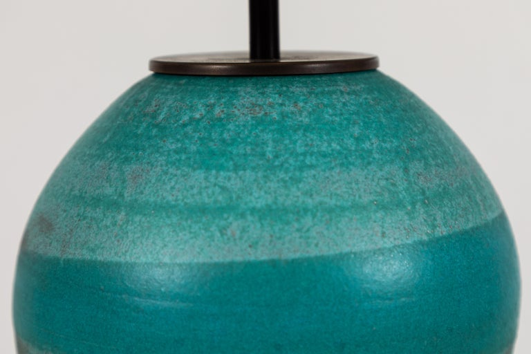 American Turquoise Ceramic Lamp by Victoria Morris for Lawson-Fenning For Sale
