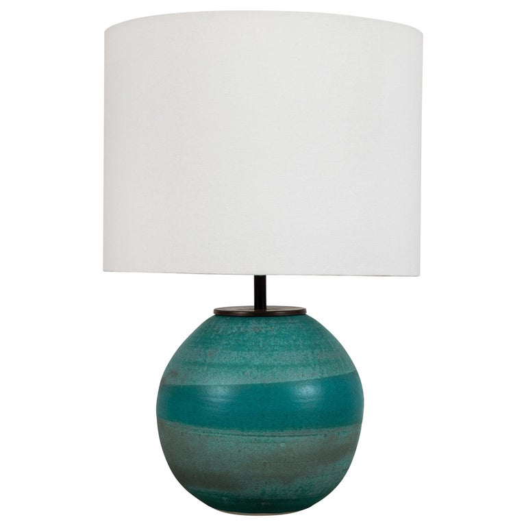 Turquoise Ceramic Lamp by Victoria Morris for Lawson-Fenning For Sale