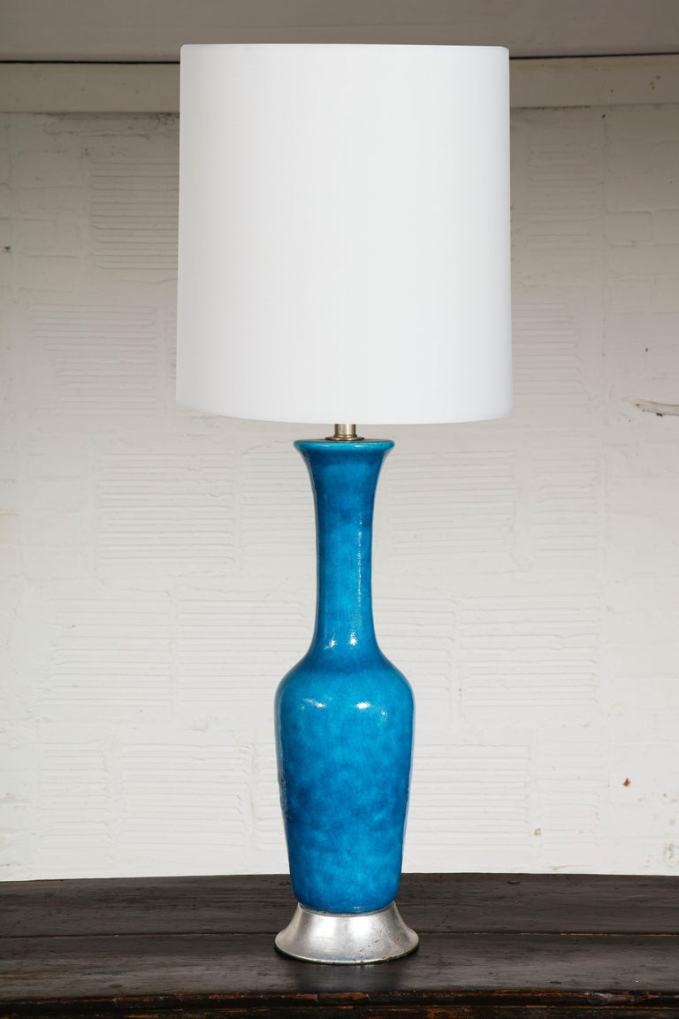 Chinese Export Turquoise Ceramic Vase as Lamp For Sale