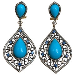 Turquoise, Champagne Diamond & Sapphire Dangling Earring in 14 Karat Yellow Gold