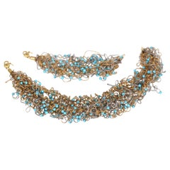 Turquoise Choker Bracelet Set 18 Karat Gold Italy Organic Whimsical Design, 1970