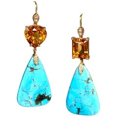 Joon Han Turquoise Citrine and Diamond 18 Karat Yellow Gold Drop Dangle Earrings