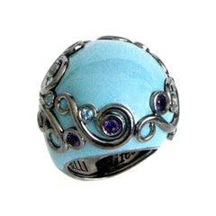 Turquoise Color Enamel Round Silver Ring with Amethyst and Blue Topaz