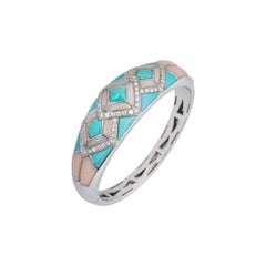 Turquoise, Coral and Diamond White Gold Bangle