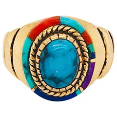 Turquoise Dome Ring, Coral, Lapis and Sugilite Inlay Custom 14 Karat Yellow Gold