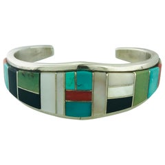 Zuni Turquoise, Coral, Onyx, Mother of Pearl and Spiny Oyster Sterling  Cuff