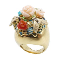 Turquoise Coral Roses Garden Gold Plated Cocktail Ring