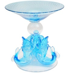 Turquoise Custom Centrepiece, Blown Glass Featuring Three Figural Aquatic Design
