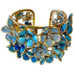 Turquoise Diamanté Flower Pate de Verre Statement Cuff Bracelet